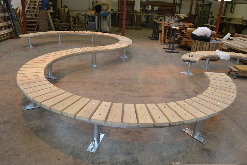 Spalding curved timber benches timber street design