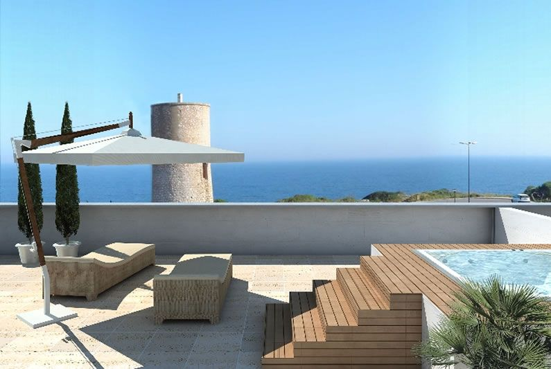 Roof top terrace with sea views and jacuzzi in the for Terrace jacuzzi