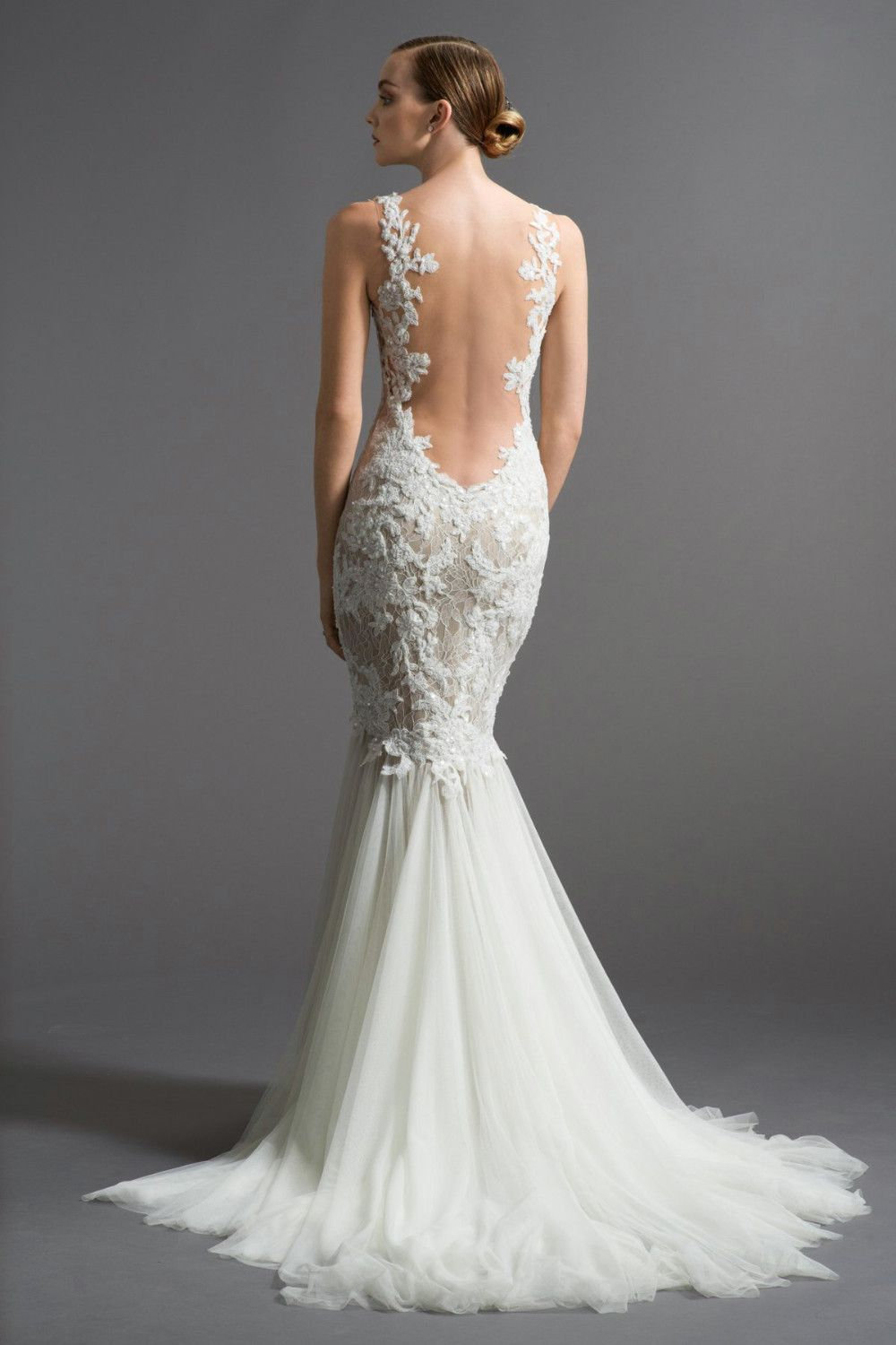 A White Wedding In Mermaid Dress Beautiful Back And Body Fit Have