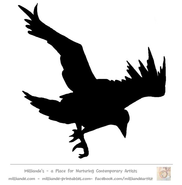 Bird Silhouette Stencil Template Crow at www.milliande ...