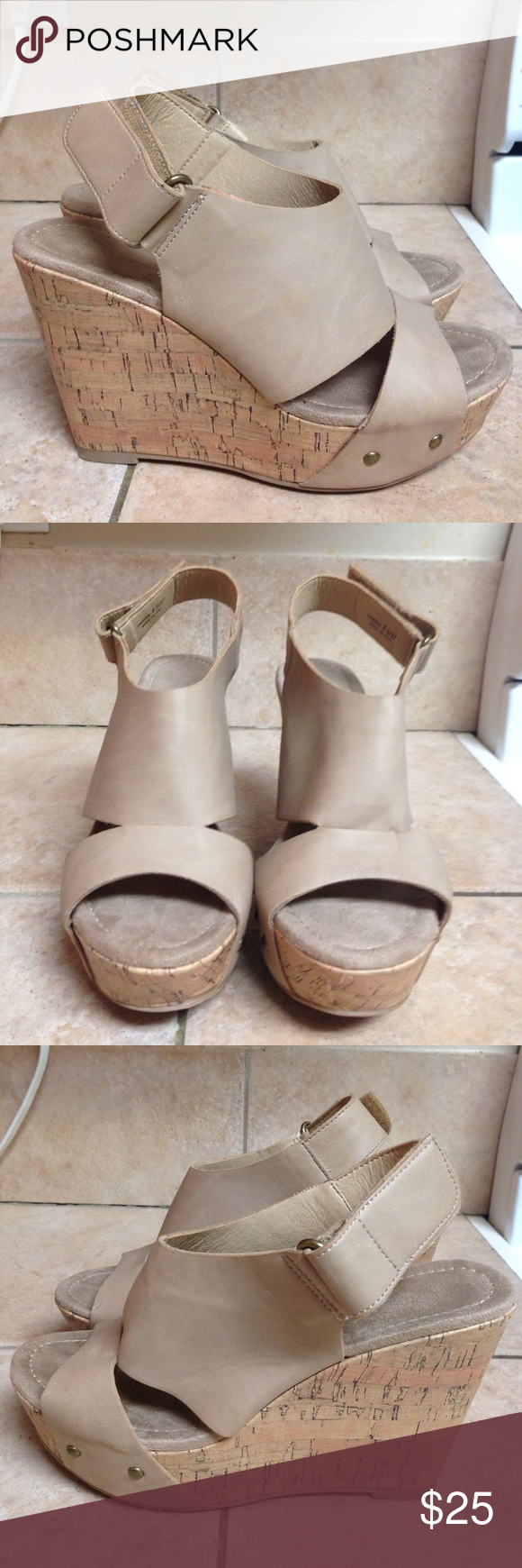 """Sexy heels Nude wedges. Worn once. Faux leather. Heel measures approx. 3"""" and 1 1/4"""" platform. Laundry Shoes Wedges"""