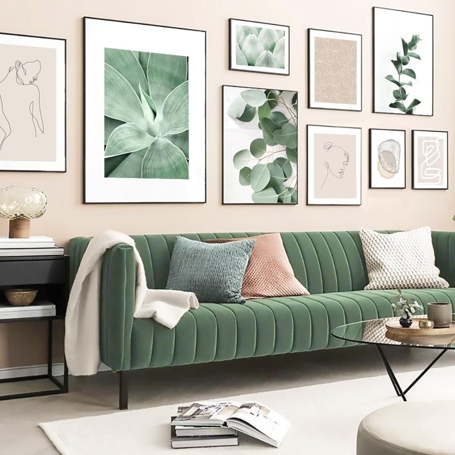 Green Plant Abstract Lines Vintage Poster Nordic Posters And Prints Wall Art Canvas Painting Wall Pictures For Living Room Decor Living Room Pictures Wall Decor Living Room Living Room Green Abstract living room decor