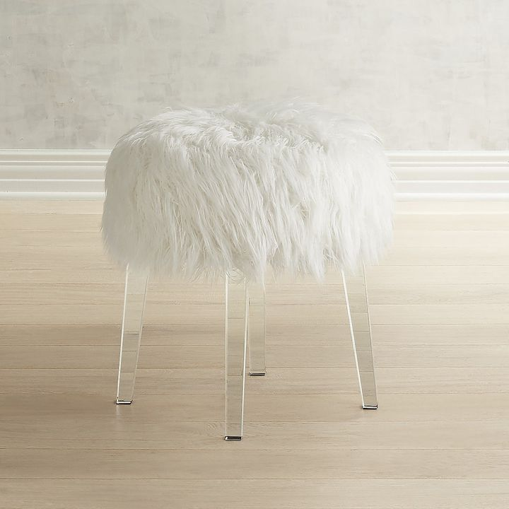 Excellent Pier 1 Imports Fur White Vanity Stool With Acrylic Legs Caraccident5 Cool Chair Designs And Ideas Caraccident5Info