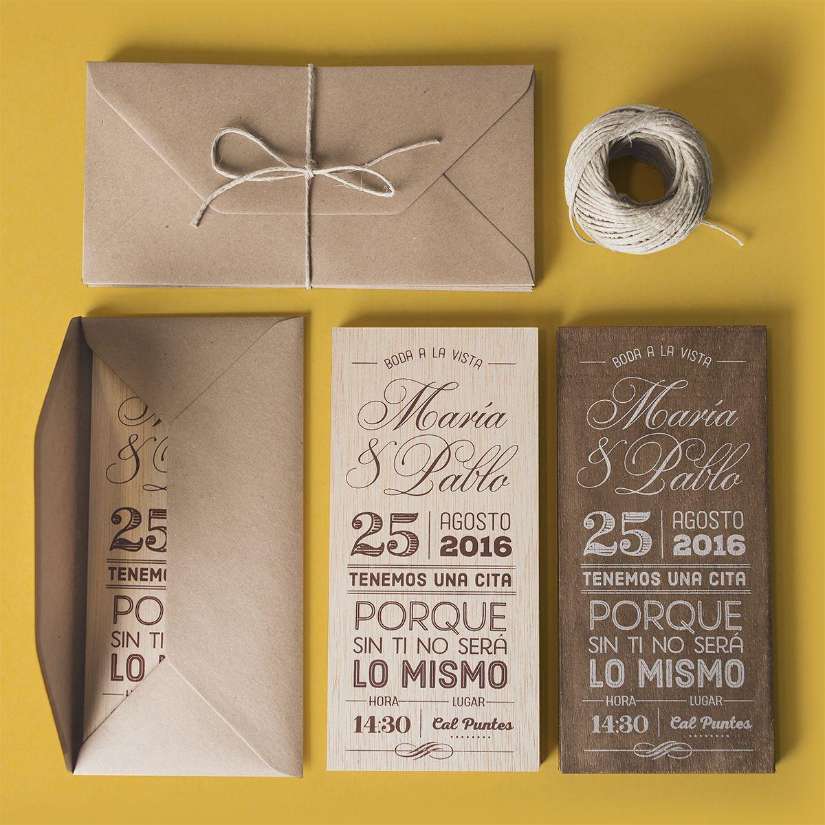 invitaciones de boda en madera  madera de 3mm de grosor