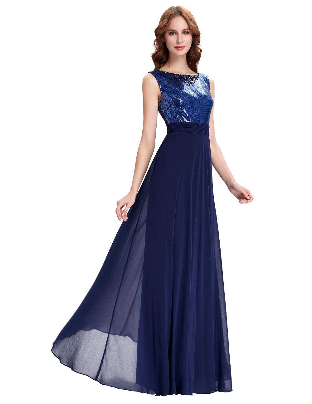 Long Navy Blue Wedding Party Dress | Wedding party dresses, Navy ...