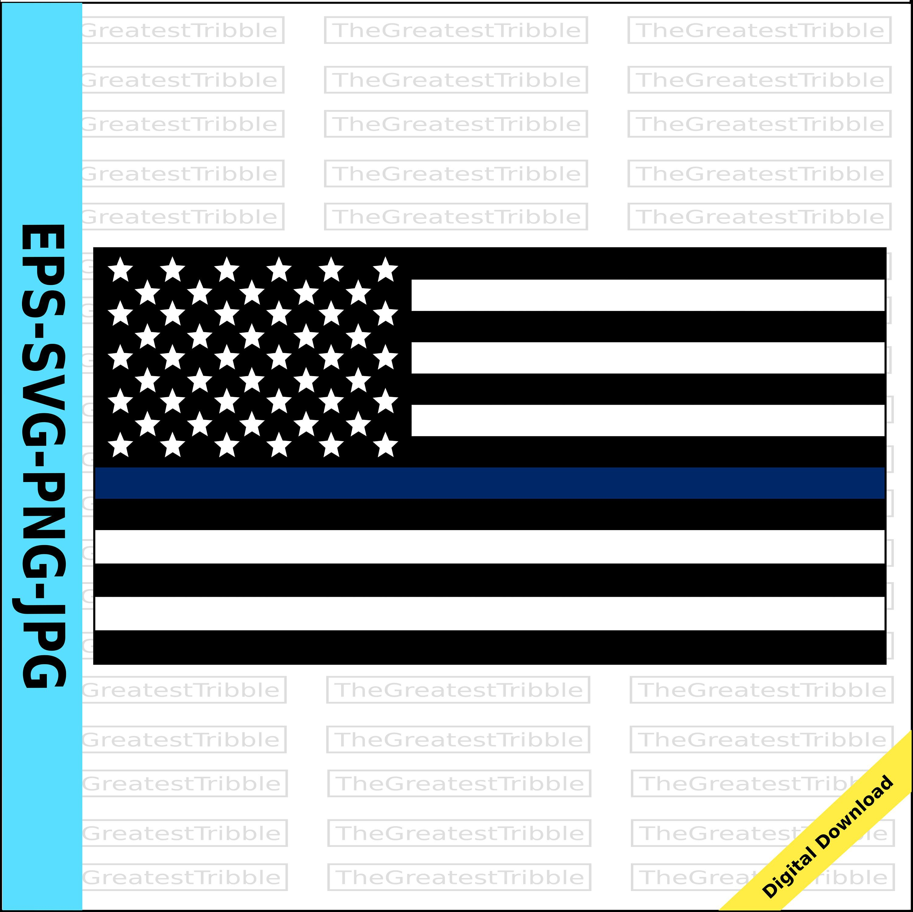 Thin Blue Line United States Flag eps svg png jpg Vector