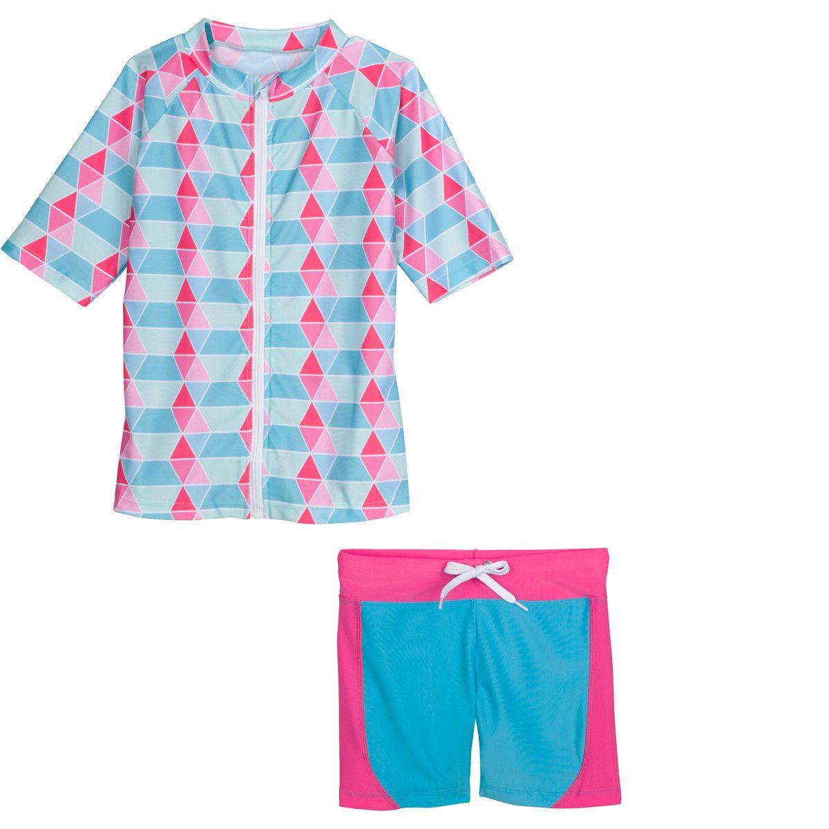 336084556d Little Girl Short Sleeve Rash Guard Shorts Set - 2 Piece