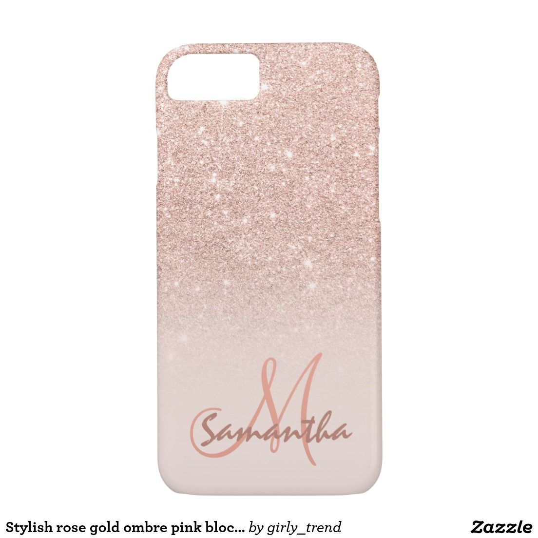 Stylish rose gold ombre pink block personalized Case-Mate iPhone ... 49800db467