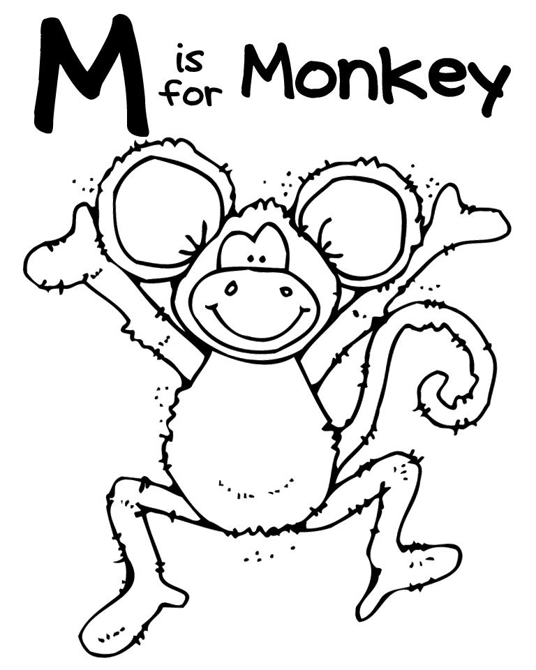 Miss alphabet coloring pages ~ Monkey printables | Monkey Crafts and Cuteness | Pinterest ...