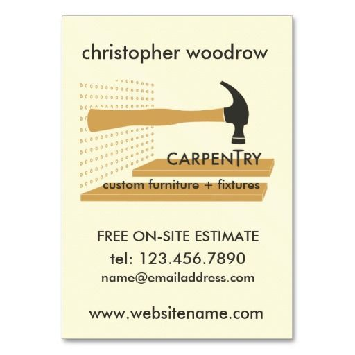 Carpentry Carpenter Woodworker Business Card   Business cards and ...