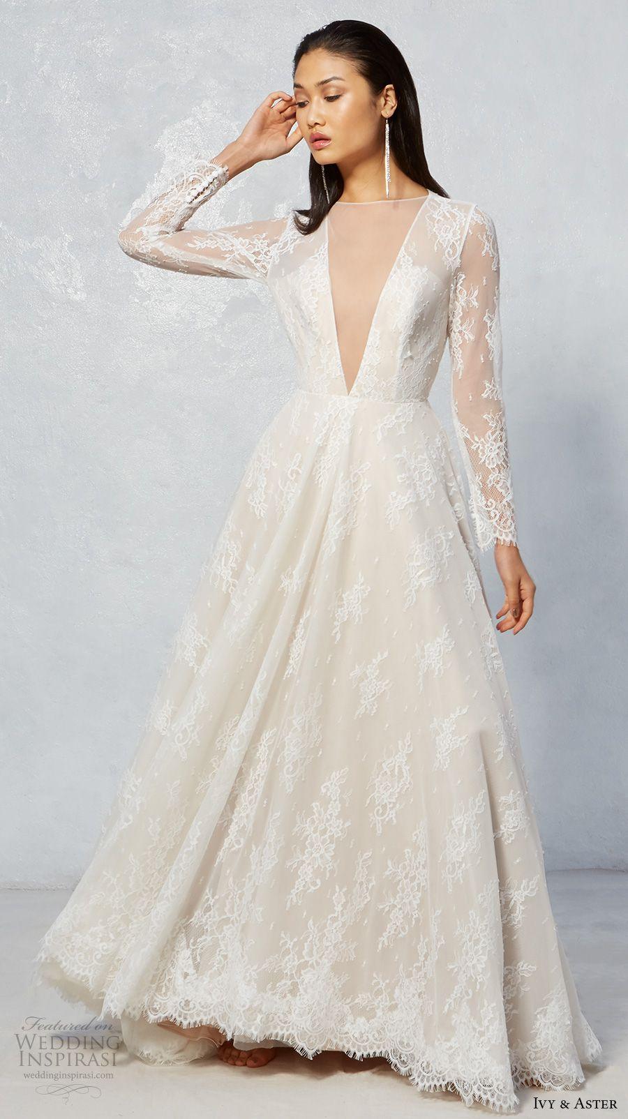 Long sleeve ivory wedding dress  Ivy u Aster Fall  Wedding Dresses  Neck deep Bridal lace and Aster
