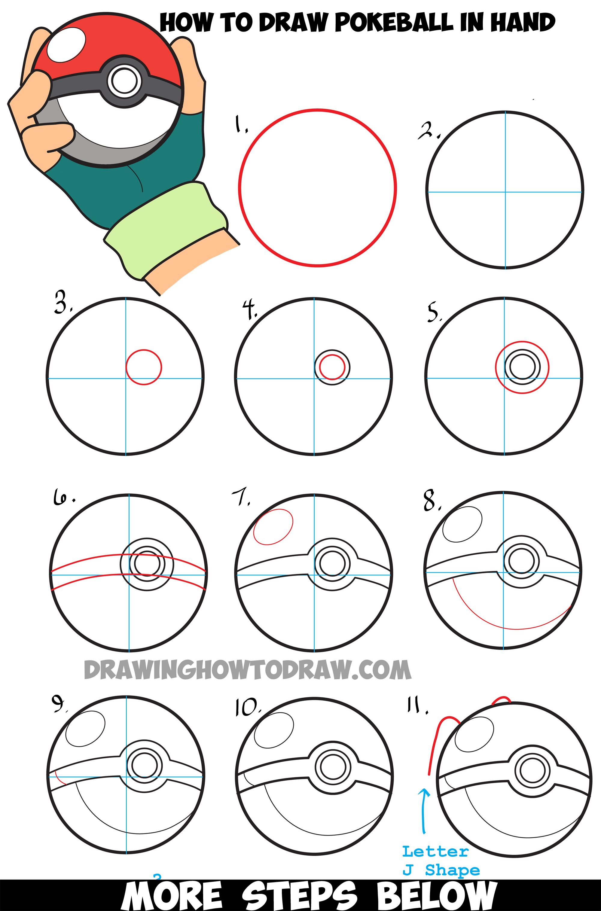 How to Draw Pokeball in Ash's Hand Step by Step Pokemon ... - photo#29