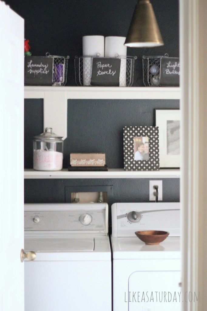 Laundry Room makeover on a budget Cobalt blue with black white