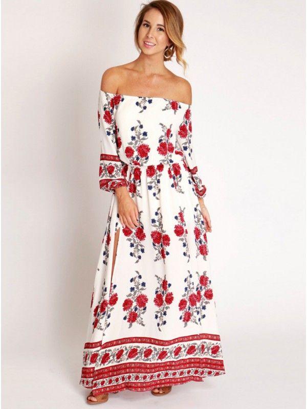 1f6c94f335 White Printed Dress, Off the Shoulder Printed Dress, Side Slit Printed Dress,  Floral Maxi Printed Dress 2017