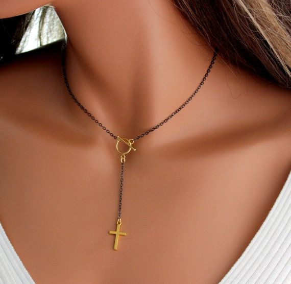 Rosary Necklace Black Sterling Silver Gold Filled Cross Pendant Two