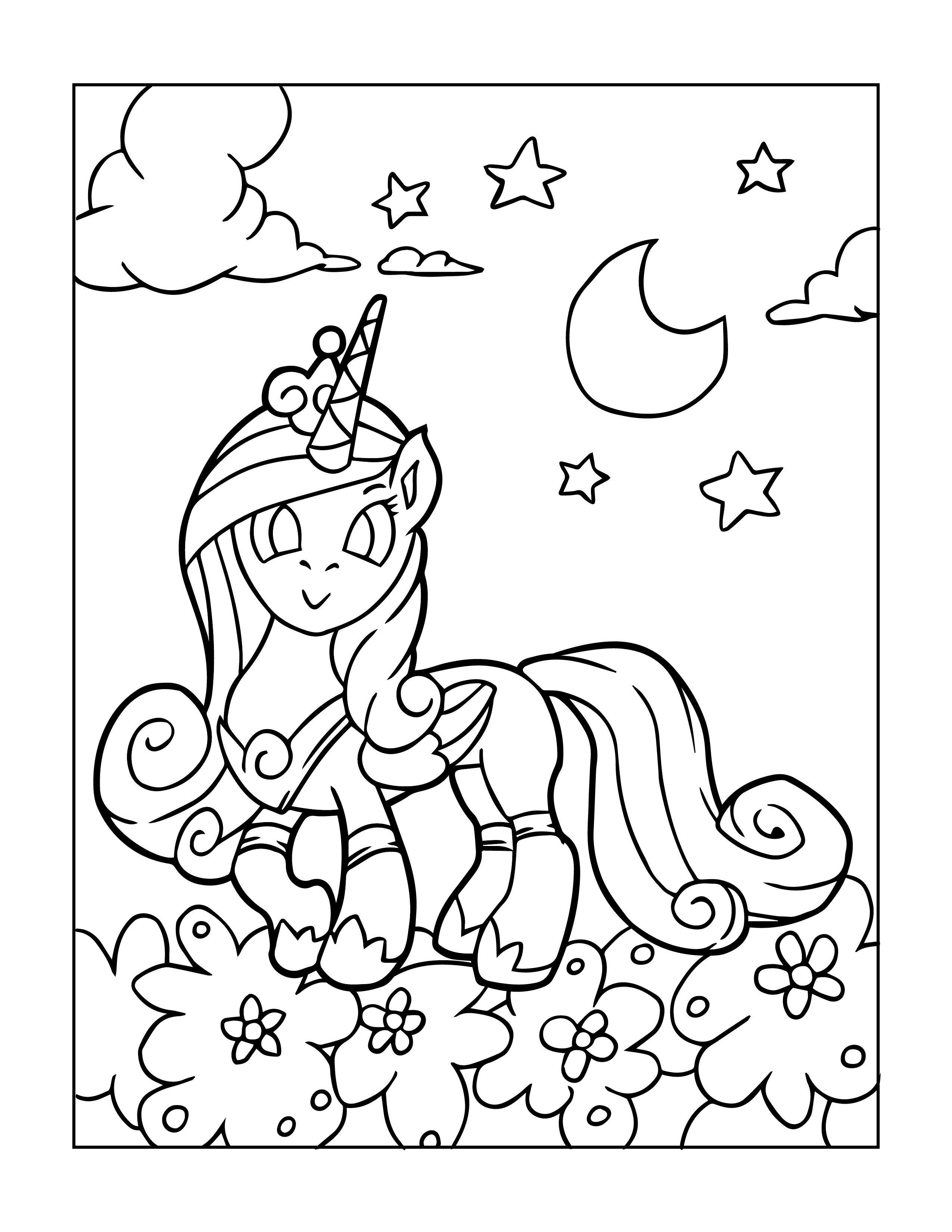 Free Unicorns Coloring Page for Kids. Beautiful Hand Drawn