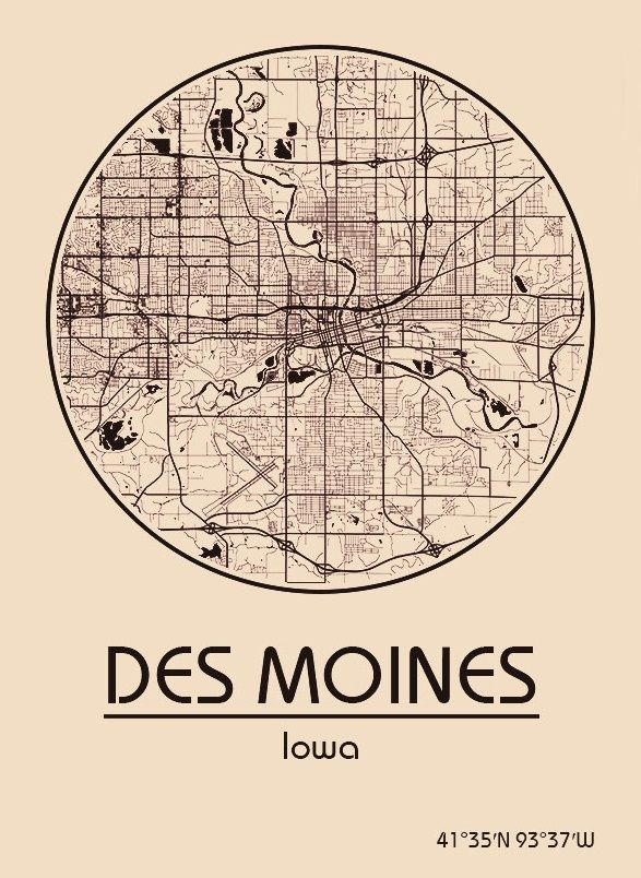 Des Moines Iowa Map Usa on