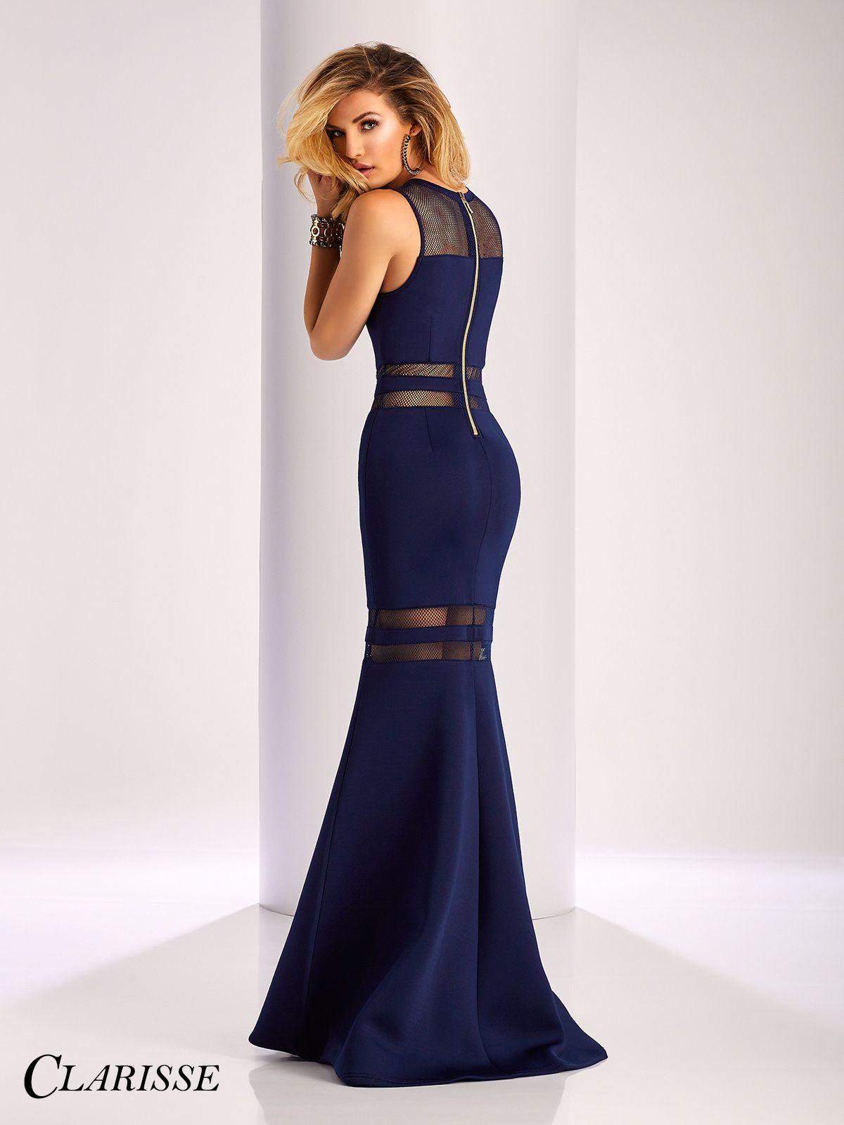 22f39a63643 Clarisse Mesh Detail Neoprene Prom Dress 3086