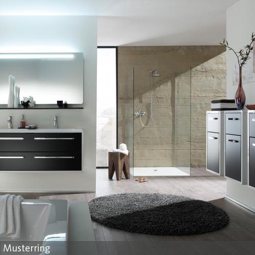 Badezimmerschranke Mit Schwarzen Fronten Badezimmer Schrank Neue Wohnung Holzhocker