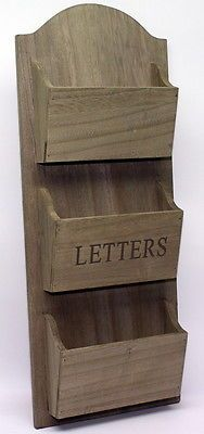 Rustic Wooden Wall Mounted Letter Holder. Post Rack