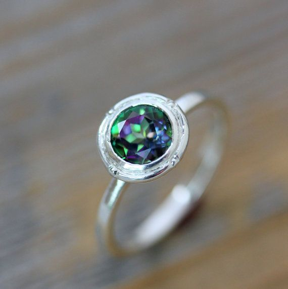 Mystic Topaz Ring in Sterling Silver,  925 Engagement or Stacking  Halo Gemstone Ring,Mystic Green Topaz Ring on Etsy, $118.00