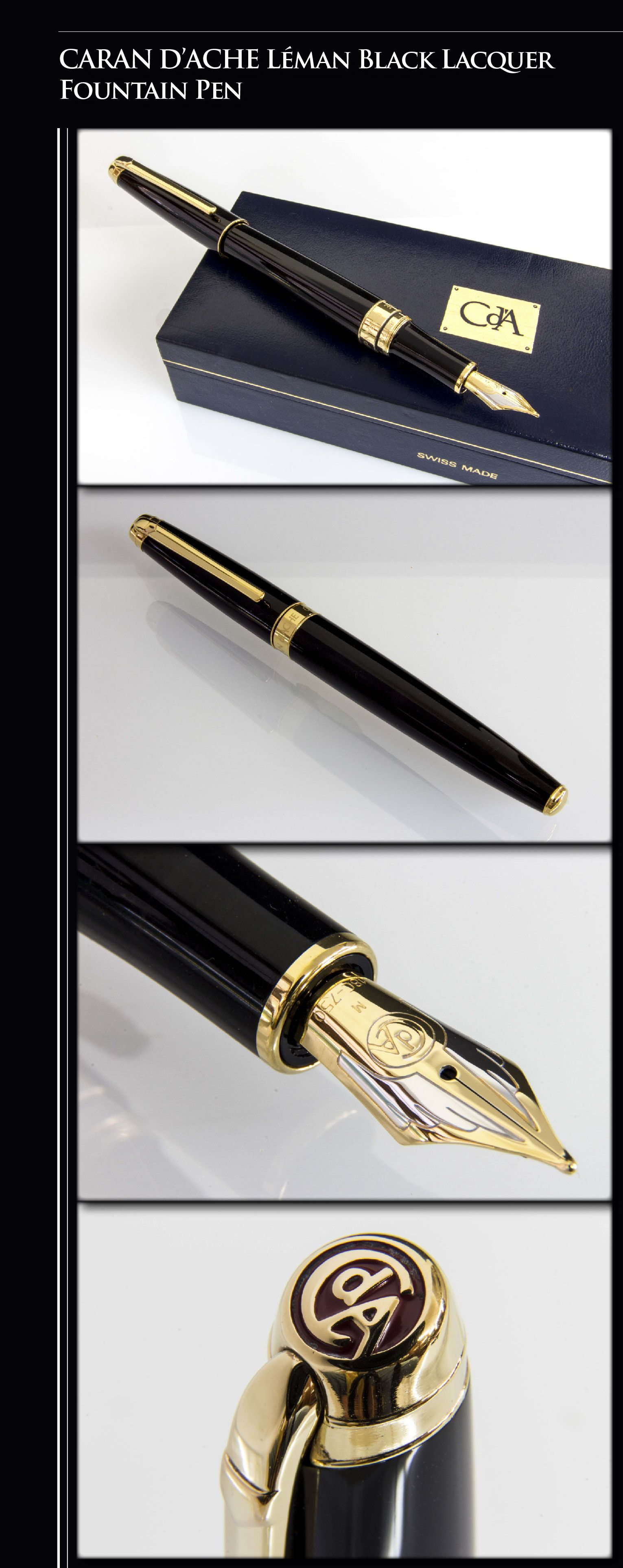 CARAN D'ACHE - Léman Black Lacquer Fountain Pen (brass body coated with Chinese lacquer, gold-plated trim, 18kt gold dual-tone nib) - 2010 / Switzerland