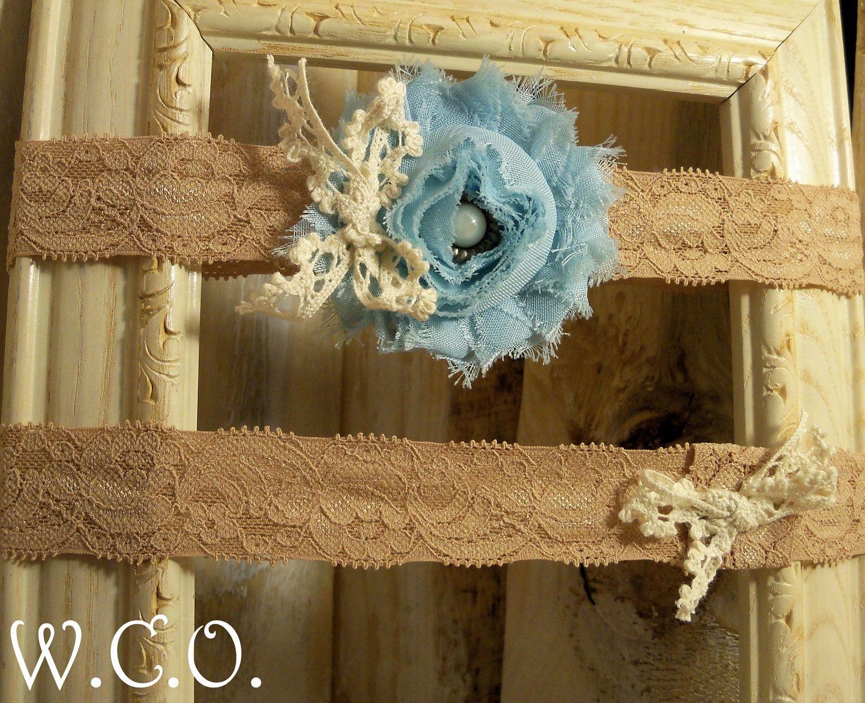 Simple SomeThing Blue Bridal Garter Vintage Inspired