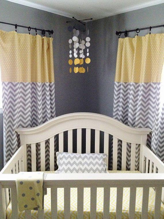 Baby Nursery Decor Smoke Gray And Yellow Circles Babies