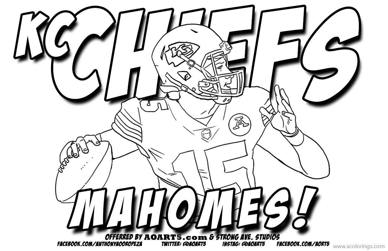 KC Chiefs Patrick Mahomes Coloring Pages.  Football coloring
