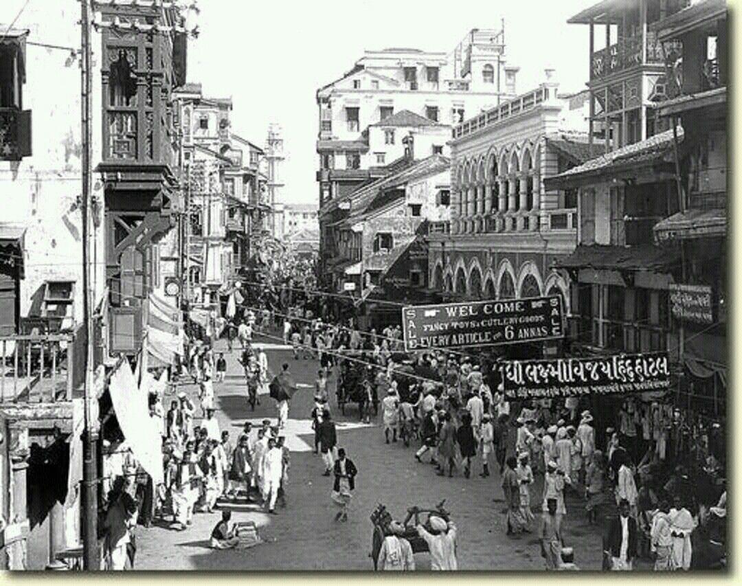 Bombay Pearl Bazaar Road In 1912 India Street Bombay Street