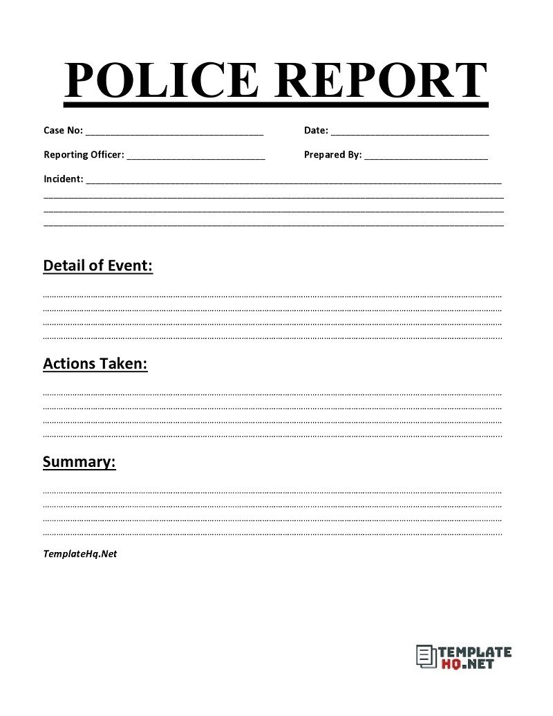 Police Report Template Word Police Report Report Template Police