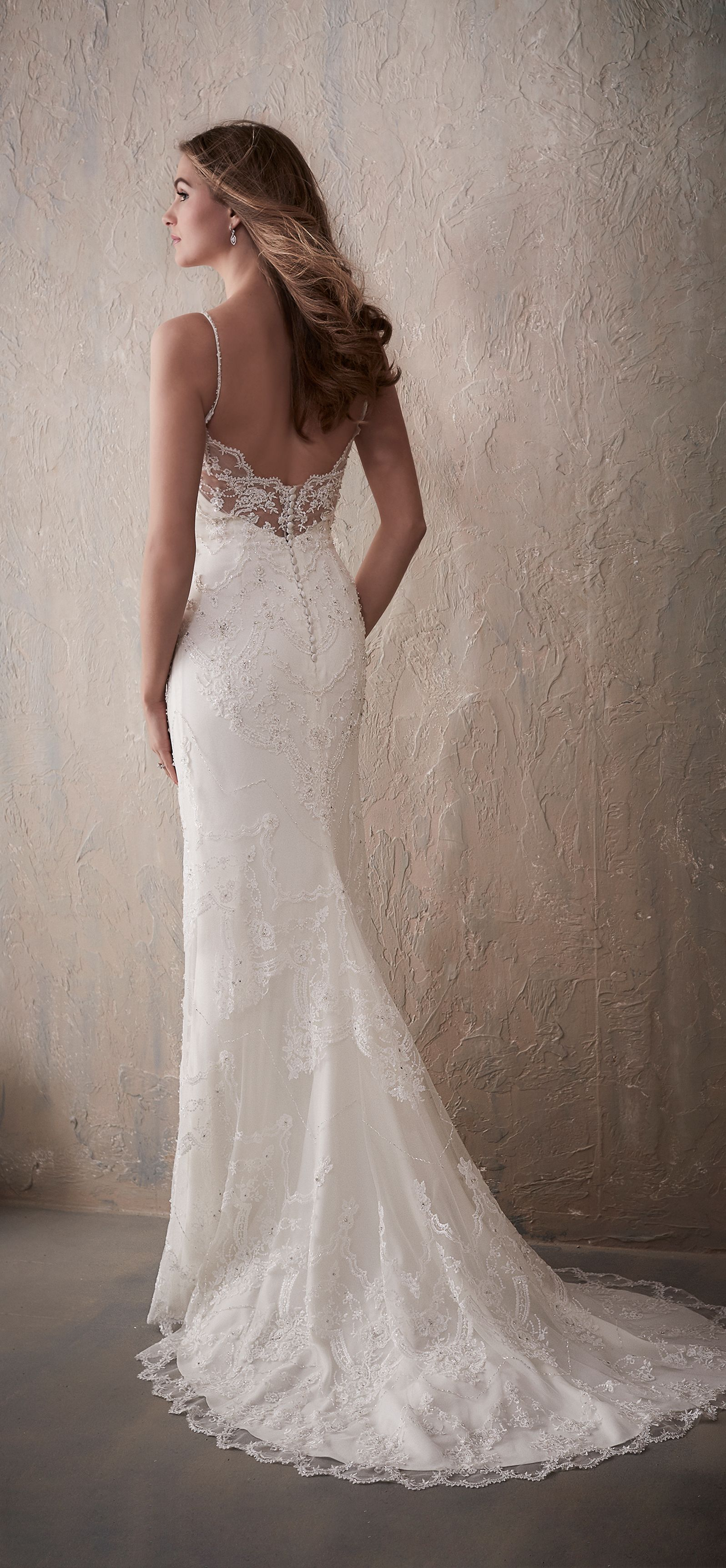 Backless spaghetti strap sheath wedding dress with beaded