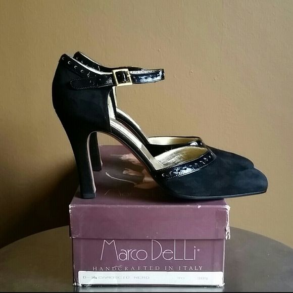 Women's suede and patent leather heels. Handcrafted in Italy, slightly squared toe. Ankle strap and around front with patent leather detail and gold square buckle on sides. BRAND NEW NEVER WORN - box included. Marco DeLLi Shoes Heels