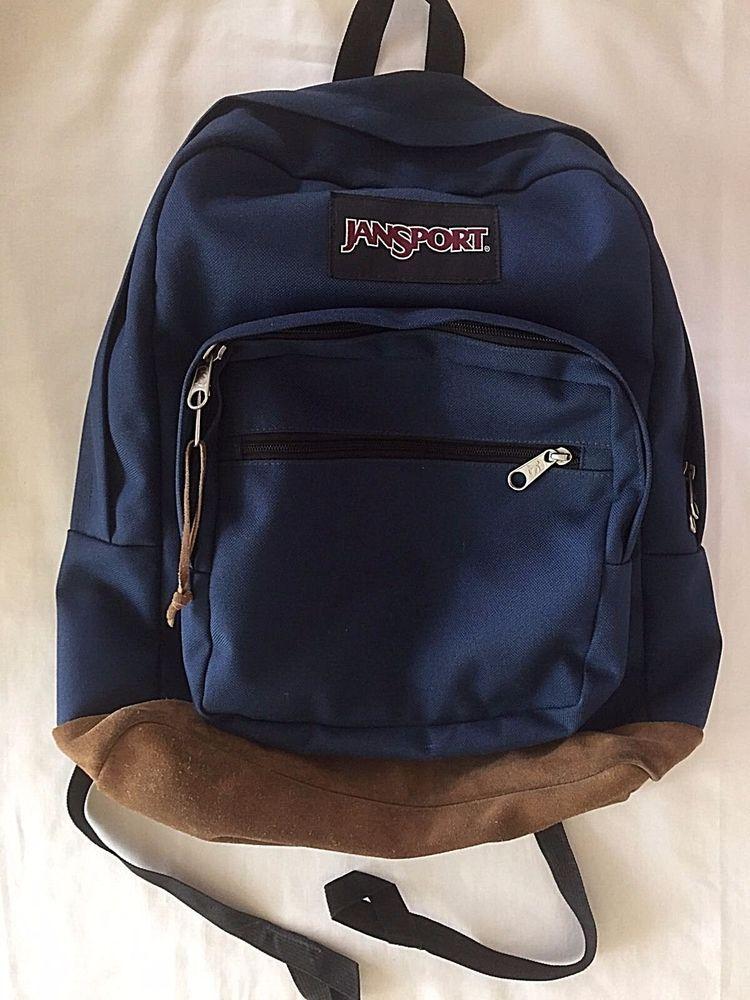 ee3d9614de97 Jansport Backpack Originals Navy Blue Brown Suede Bottom School Travel Bag  TYP7  JanSport
