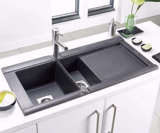 black kitchen sink lowes best faucets consumer reports buy drain basket of composite interior
