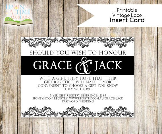 Printable Wedding INSERT Card DAMASK Insert card can be used
