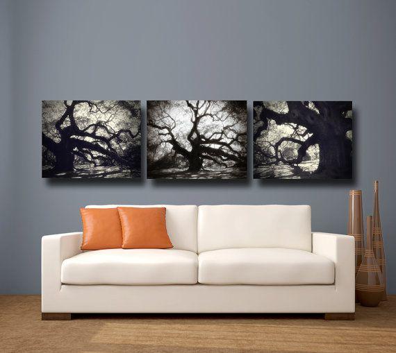Tree Photography Black White Canvas Art Angel Oak Modern Large Wall Set Of 3 South Carolina Via Etsy
