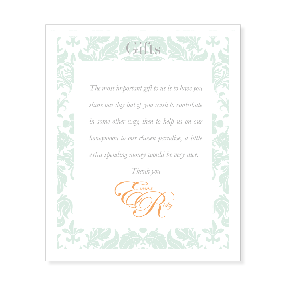 Wording For Wedding Gift Money : wedding gift list wedding designers honeymoons wedding invitations ...
