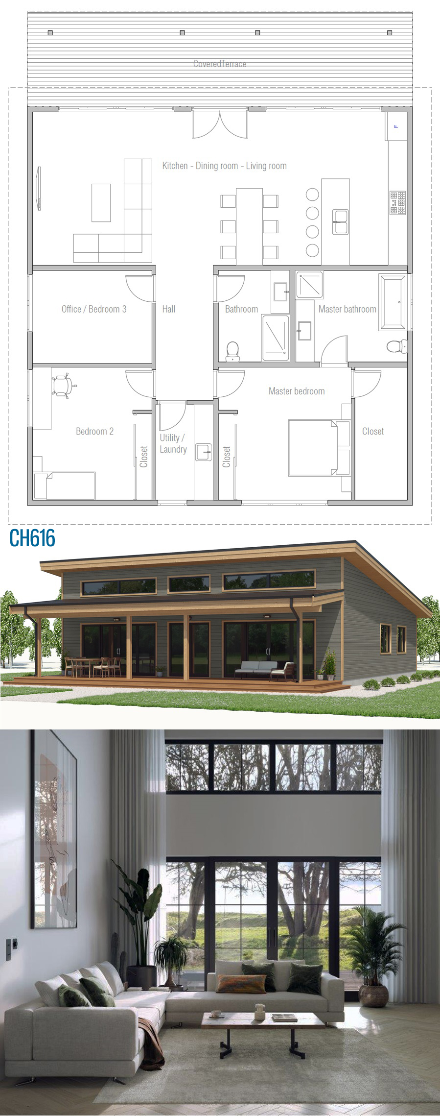 Floor Plan Ch616 Architecture House Dream House Plans Small House Plans