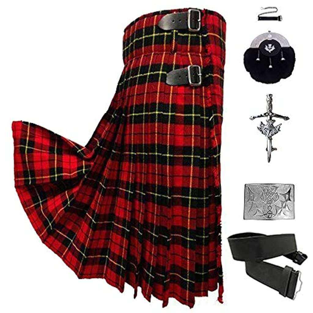Scottish Kilt Set of 05 Pcs in Different Tartans (Wallace