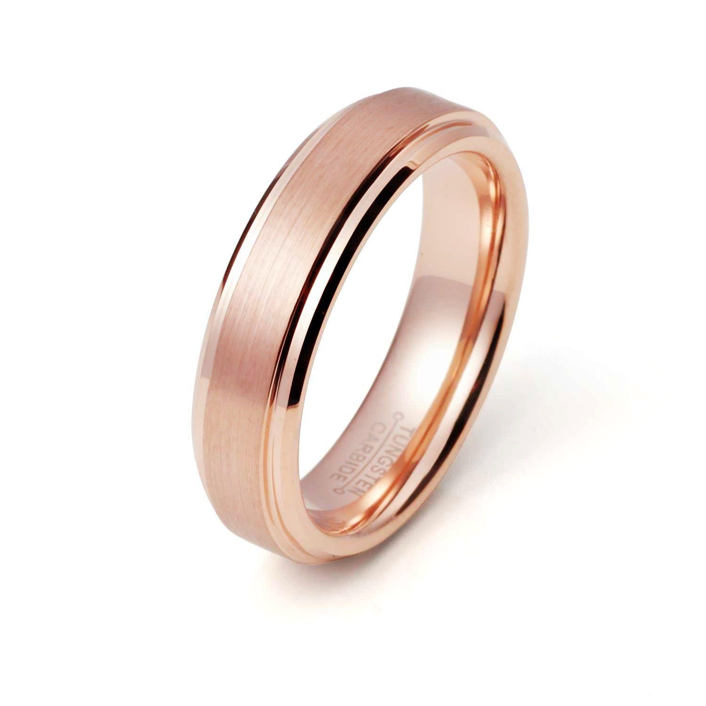 Rose Gold Tungsten Ring Brushed Rose Gold Wedding Band 6mm