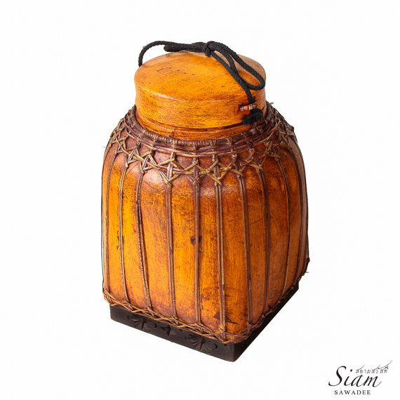 "Hand-Painted Traditional Sticky-Rice Box Container / Pot / Storage. Vintage Authentic made of Bamboo from Thailand. 13"" Inches Hight by SiamSawadee, $39.99"