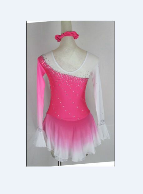 figure skating suit pink ice skating clothes for competition custom ice dress #yike