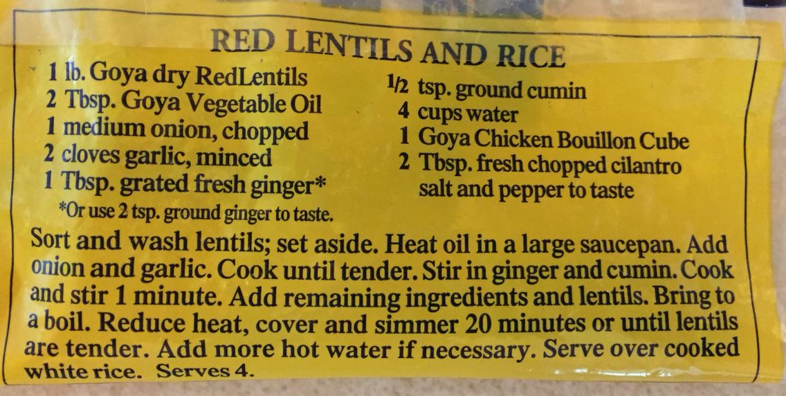 Cumin And Ginger Red Lentils And Rice Goya Recipe We Leave Out