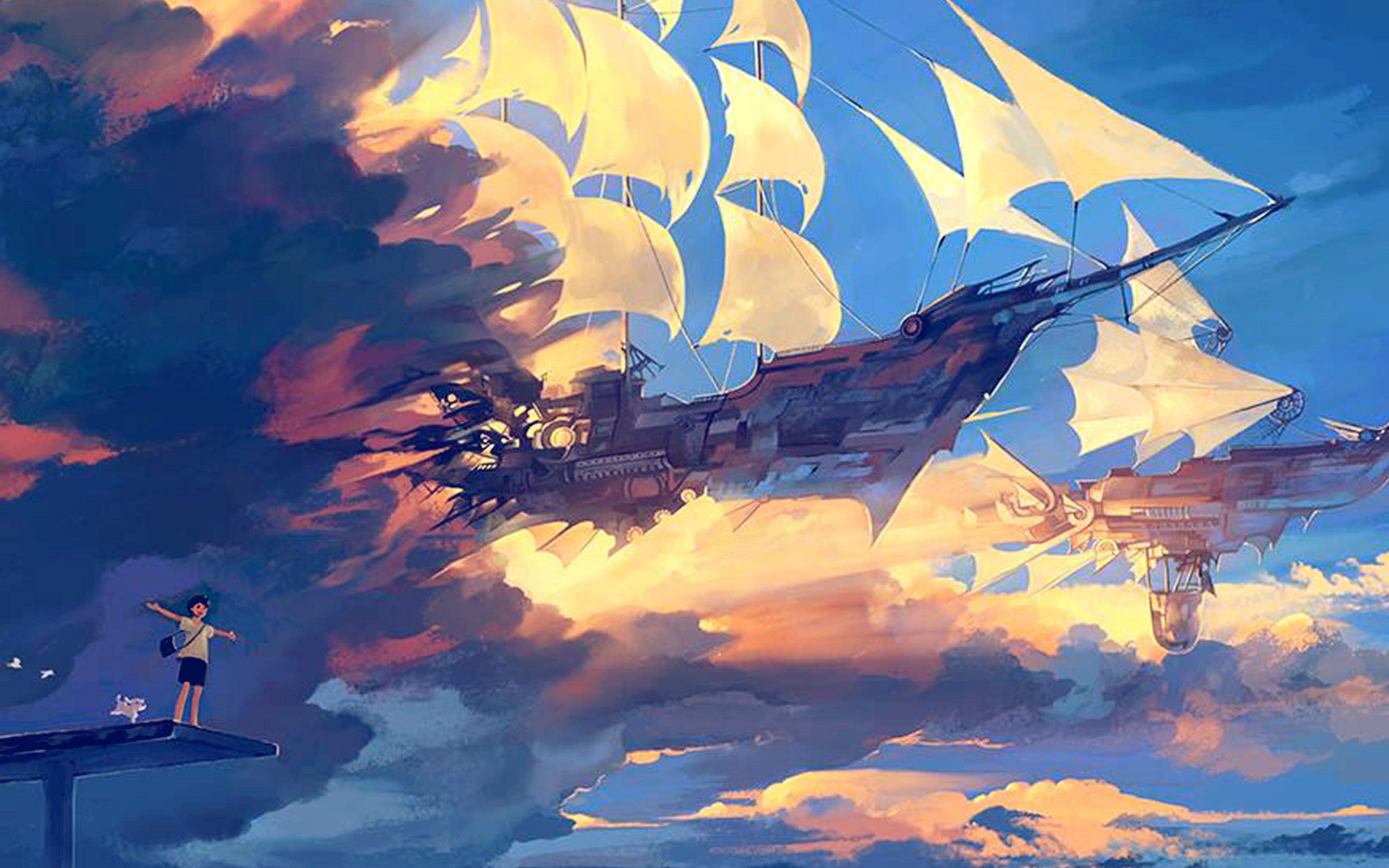 Fly Ship Anime Illustration Art Blue 4k Wallpaper Hdwallpaper Desktop In 2021 Desktop Wallpaper Art Anime Scenery Art Wallpaper