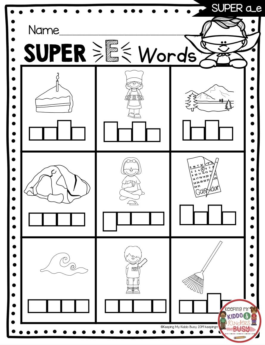 Long Vowels SUPER E Phonics Unit - FREEBIE — Keeping My Kiddo Busy   Long  vowel worksheets [ 1158 x 890 Pixel ]