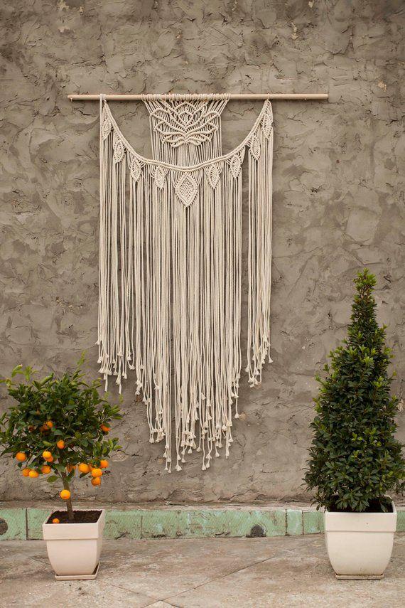 Large macrame wall hanging macrame curtains macrame wall for Mobilia wedding