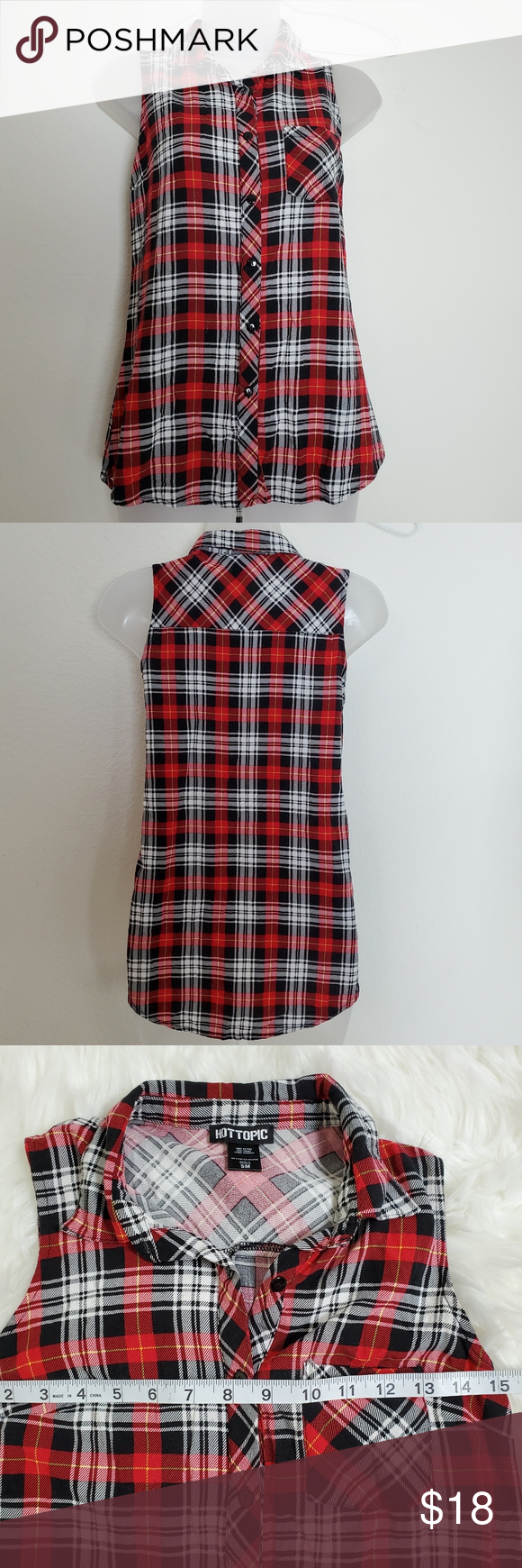 Hot Topic Plaid Sleeveless Shirt Hot Topic red, black & white Plaid Sleeveless Shirt. Good preowned condition. Front button closure. Hot Topic Tops #hottopicclothes Hot Topic Plaid Sleeveless Shirt Hot Topic red, black & white Plaid Sleeveless Shirt. Good preowned condition. Front button closure. Hot Topic Tops #hottopicclothes