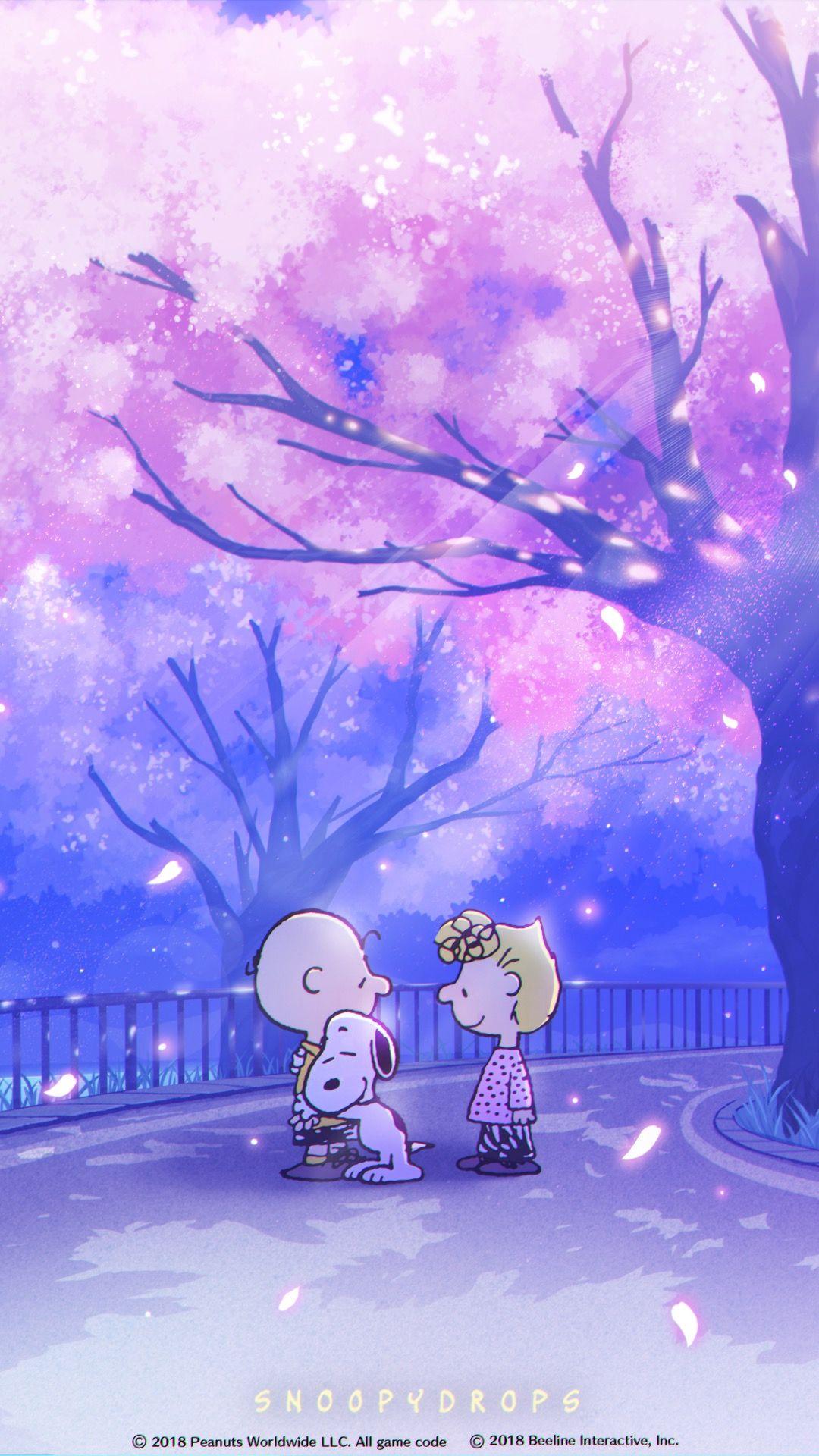 Snoopy スヌーピー 壁紙 桜 スヌーピーの壁紙 壁紙 春 綺麗なイラスト壁紙背景
