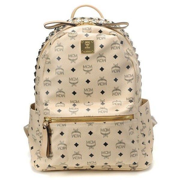 mcm stark 3 rows top studs studded beige backpack in medium
